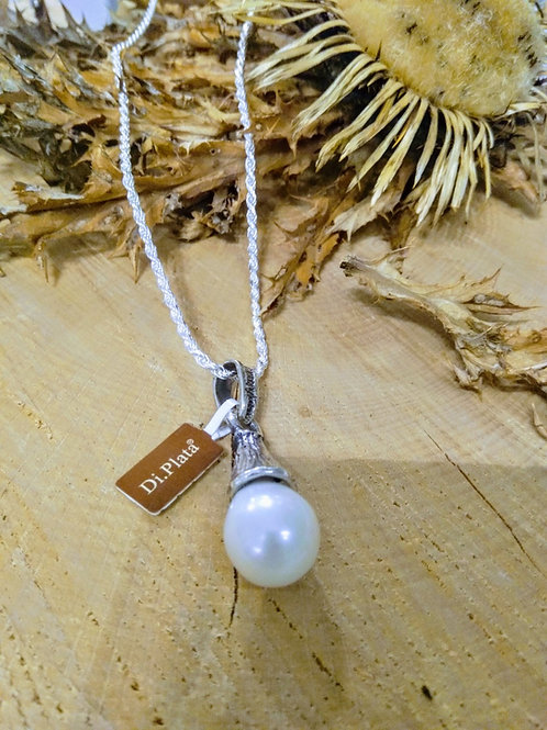Colgante con Perla Natural artesano en plata
