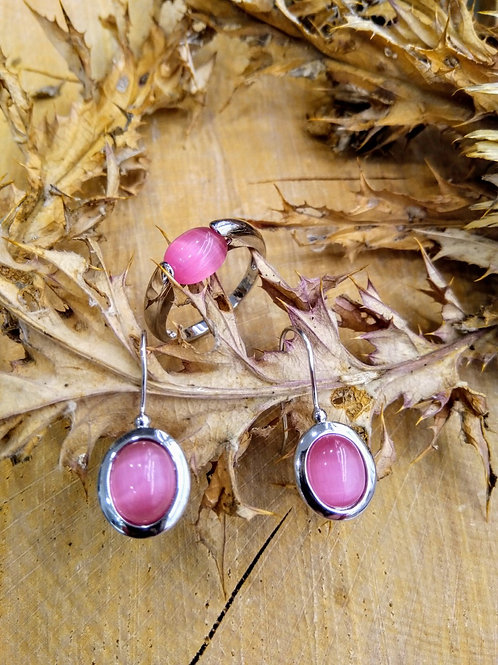 Pendientes  y anillo piedra rosa en Plata 1ª Ley