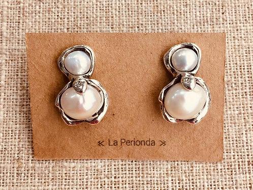 Pendientes Plata con Perlas naturales.