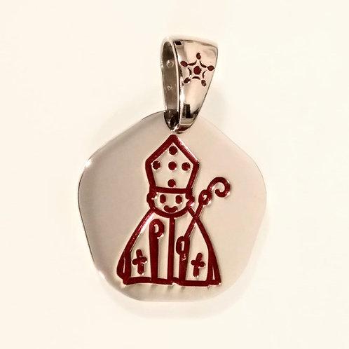 Colgante  medalla San Fermín en Plata y Esmalte rojo