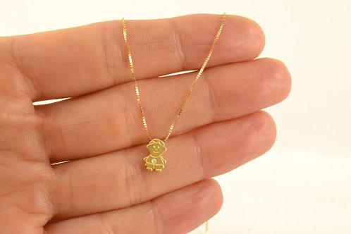 Colgante y Cadena Oro 1ª Ley Niño con Diamante