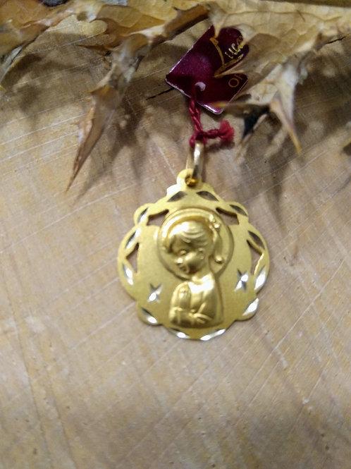 """Medalla Virgen Niña en oro 1"""" ley"""