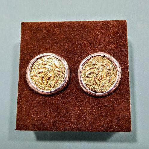 Pendientes con moneda en bronce y plata