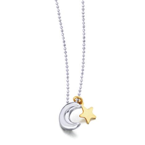 Colgante Luna y Estrella  con cadena en plata