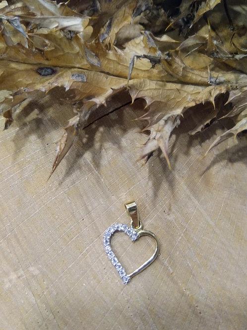Colgante Corazón circonitas en oro 1ªley