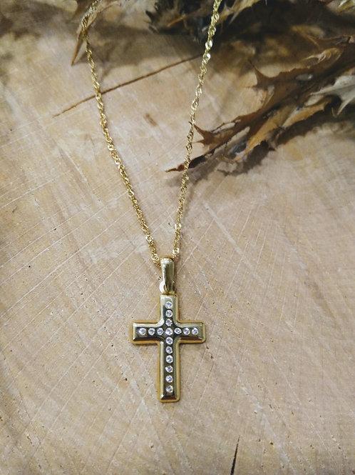 Cruz de circonitas con cadena en Oro 1ª Ley