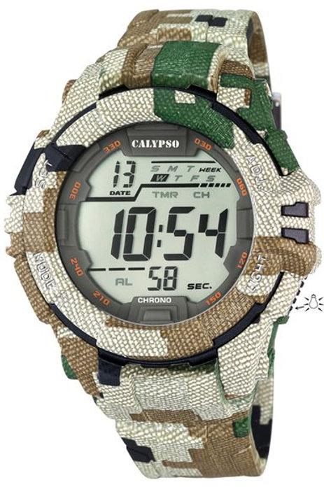 Reloj Calypso Camuflaje Verde digital