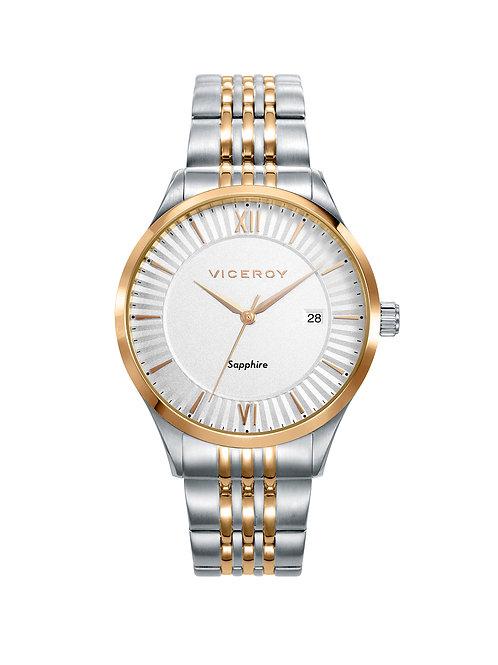 Reloj Viceroy acero bicolor mujer cristal zafiro