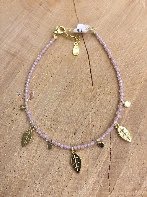 Pulsera piedra rosa en Plata chapada en Oro