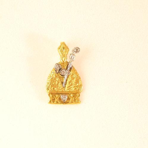 Colgante de San Fermín en Oro 1ª Ley y  Diamante.
