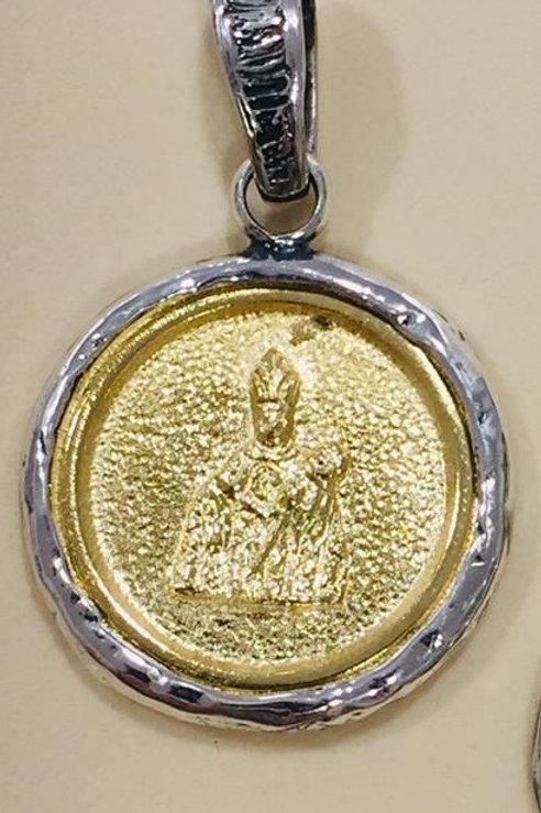 Colgante grande medalla San Fermín  en Plata  y Bronce.