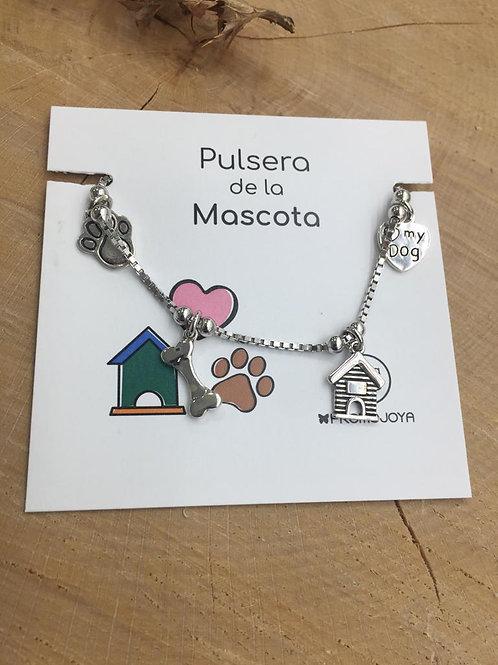 Pulsera mascota Perro en Plata de Ley.