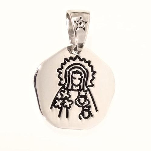 Colgante Virgen Santa Ana en Plata y Esmalte.