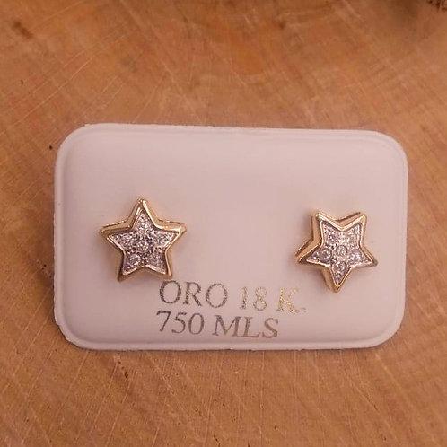 Pendiente Estrella Bicolor en Oro 1ª Ley