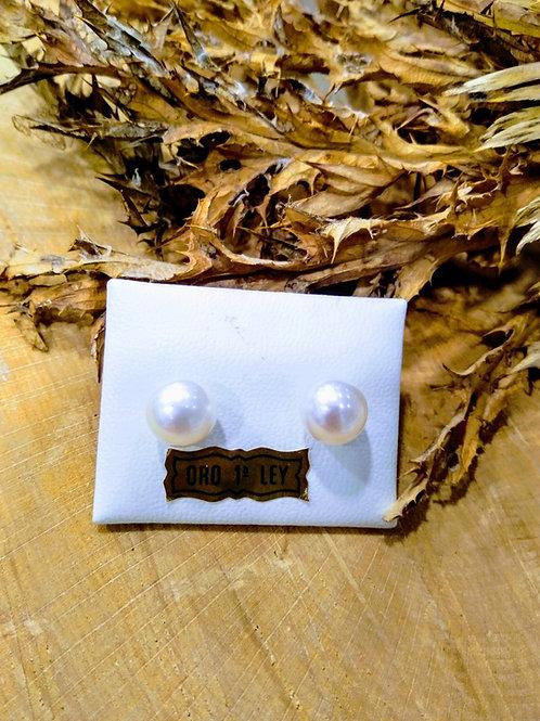 Pendientes Perla Cultivada 9,5mm en Oro 1ª Ley