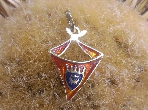 Colgante del Pañuelo de San Fermin con el escudo de Pamplona en Oro y Esmalte a
