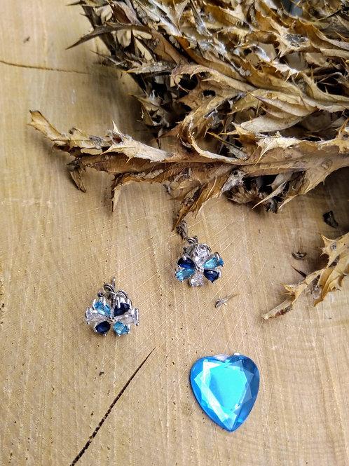 Pendientes  Plata Piedras Azules