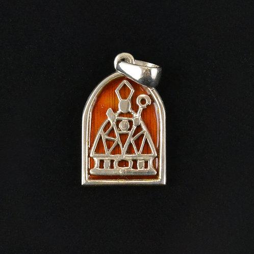 Colgante de San Fermín en plata con esmalte a fuego