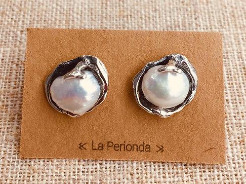 Pendientes artesanos con Perlas naturales en Plata