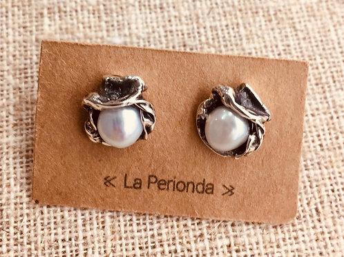 Pendientes artesanos en Plata con Perlas naturales