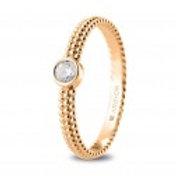 Anillo Diamantes Oro Rosa 1 Ley