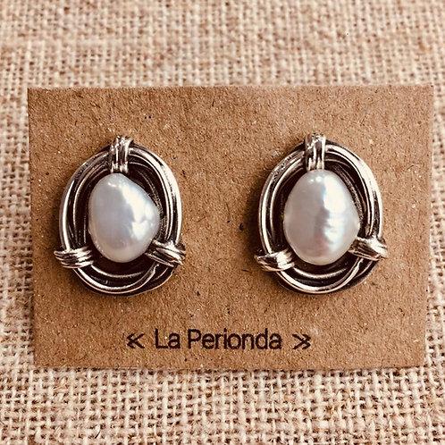 Pendientes artesanos con Perlas naturales en Plata.