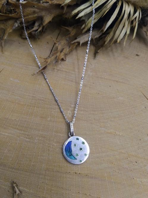Colgante esmalte Luna y Estrellas cenon cadena en Plata