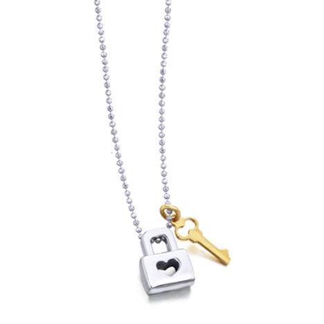 Colgante Candado y llave con cadena en Plata