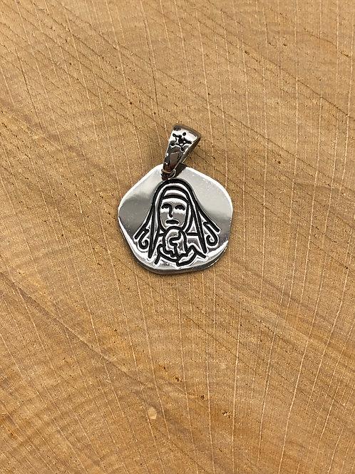 Colgante medalla de la Virgen Dolorosa de Pamplona
