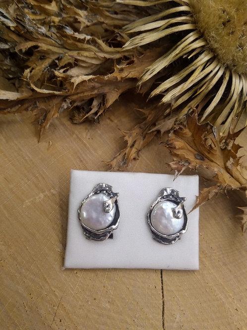 Pendiente Perla natural Plata