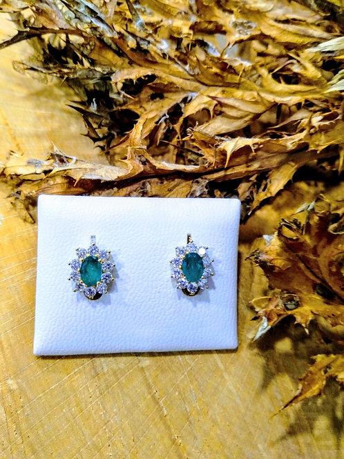 Pendientes esmeraldas y circonitas en Oro 1ª Ley
