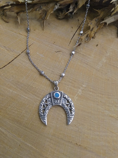 Colgante Luna  con cadena en Plata 45cm