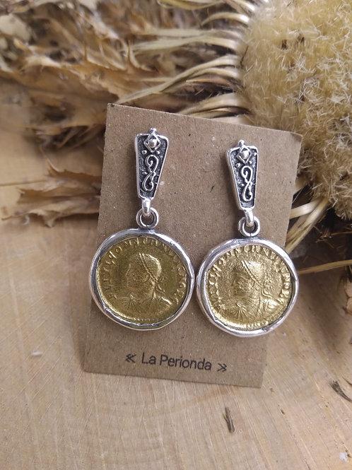 Pendientes Moneda Romana Plata y Bronce