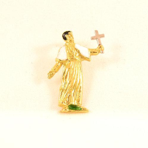 Colgante San Francisco Javier  en oro y esmalte a fuego.
