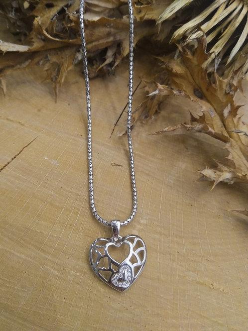 Colgante corazón con cadena en Plata 45cm