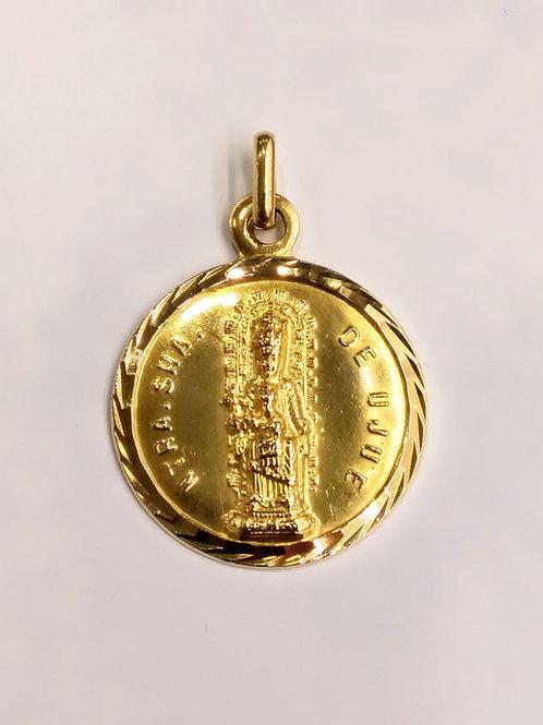 Colgante medalla de la Virgen de Ujue en Oro de Ley