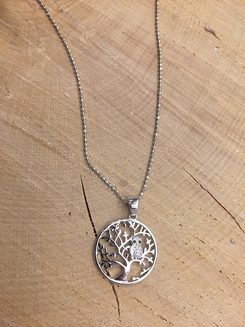 Colgante Árbol de la Vida con Búho con cadena en Plata.