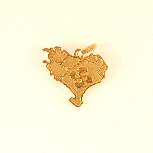 Colgante Mapa Euskadi con Lauburu en Oro 1ª Ley.