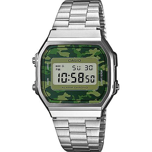 Reloj Casio Plateado y camuflaje verde