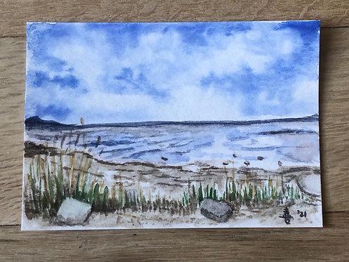 "Water's edge - watercolor - 2.5"" x 3.5"""