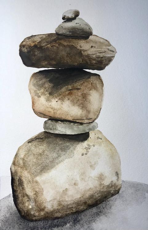 """Balancing - Watercolor - 8.5"""" x 5.3"""""""