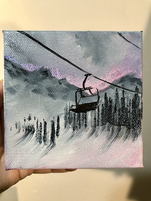 """Morning Ride - 4""""x4"""" oil on canvas"""