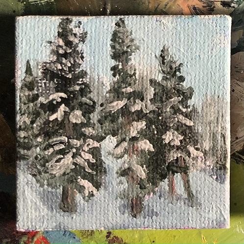 """Playing in the Trees 2 - Oil on Canvas - 2""""x2"""""""