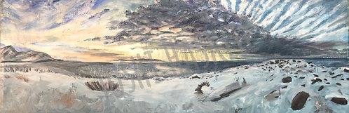 "Antelope Island - 24"" x 12"" - oil on canvas"