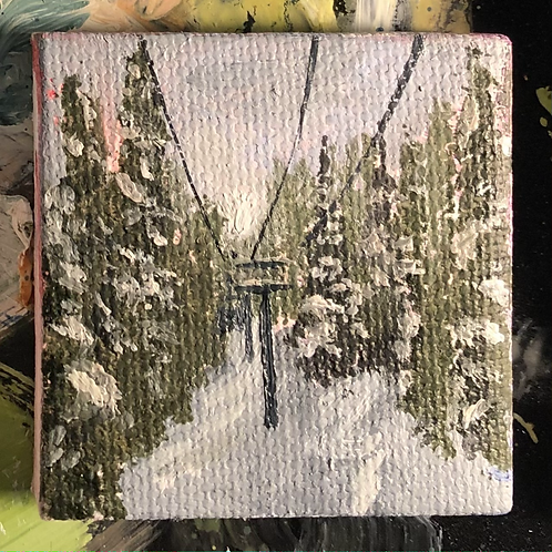 """Playing in the Trees 4 - Oil on Canvas - 2""""x2"""""""