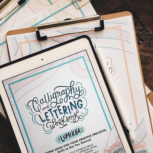 Printable Workbook # 7 Calligraphy & Lettering: LUMIKHA