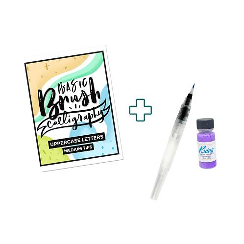 Practice Sheets + Waterbrush & Liquid Watercolor Bundle