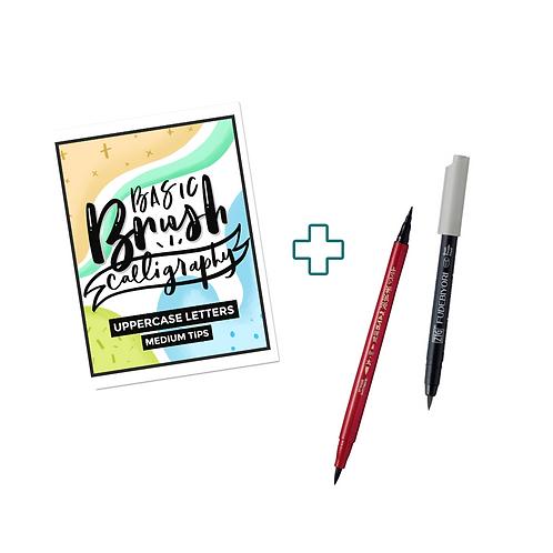 Practice Sheets + Brush Pens Bundle
