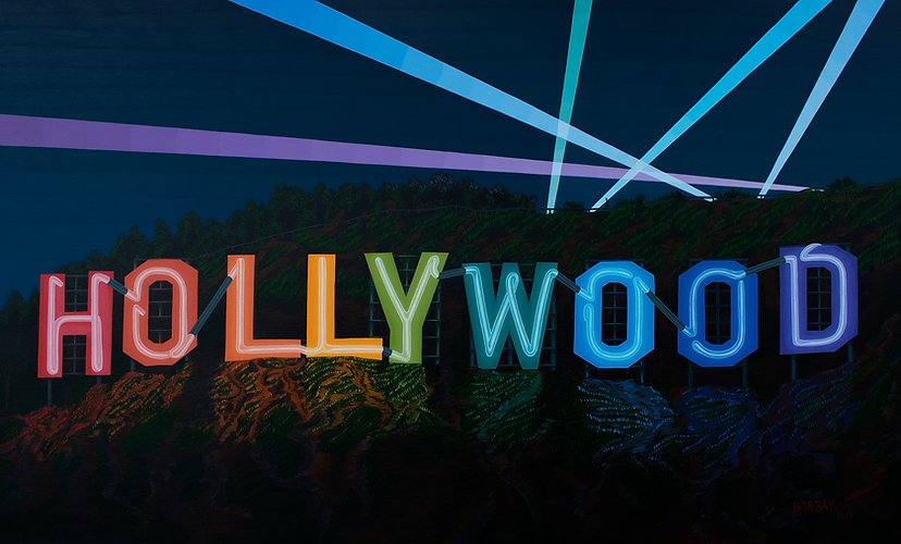Hollywood-Sign-Neon-Painting-by-Borbay-2