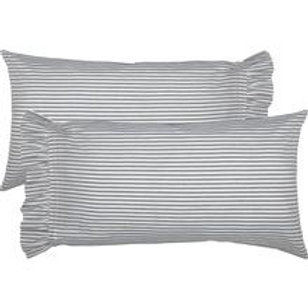 Standard Ruffled French Ticking Fabric Pillowcase Set